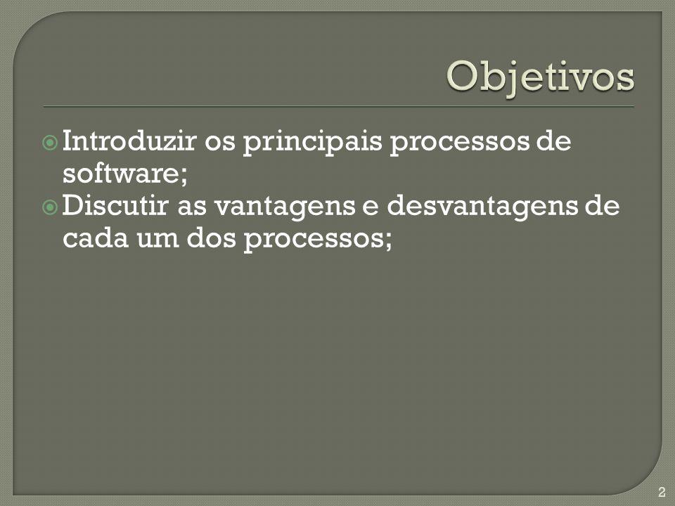 Introduzir os principais processos de software; Discutir as vantagens e desvantagens de cada um dos processos; 2