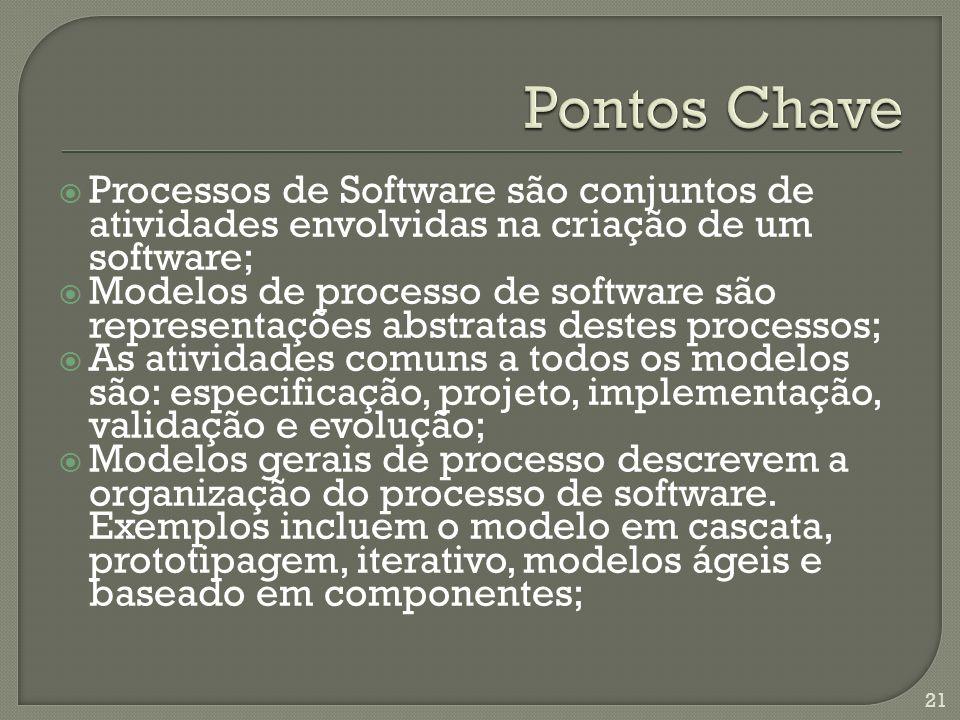 Processos de Software são conjuntos de atividades envolvidas na criação de um software; Modelos de processo de software são representações abstratas d