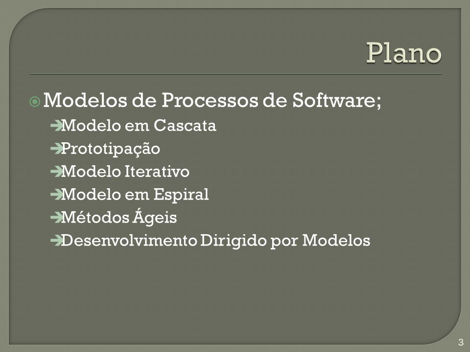 Modelos de Processos de Software; è Modelo em Cascata è Prototipação è Modelo Iterativo è Modelo em Espiral è Métodos Ágeis è Desenvolvimento Dirigido