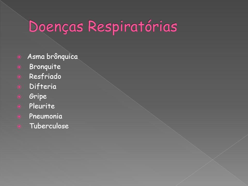 Asma brônquica Bronquite Resfriado Difteria Gripe Pleurite Pneumonia Tuberculose