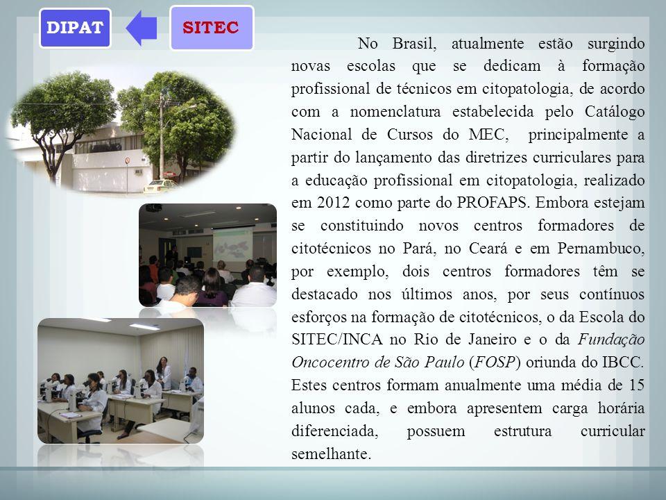 No Brasil, atualmente estão surgindo novas escolas que se dedicam à formação profissional de técnicos em citopatologia, de acordo com a nomenclatura estabelecida pelo Catálogo Nacional de Cursos do MEC, principalmente a partir do lançamento das diretrizes curriculares para a educação profissional em citopatologia, realizado em 2012 como parte do PROFAPS.