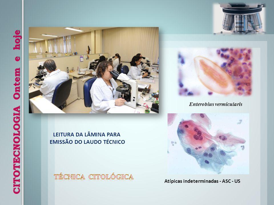 LEITURA DA LÂMINA PARA EMISSÃO DO LAUDO TÉCNICO Atípicas indeterminadas - ASC - US Enterobius vermicularis