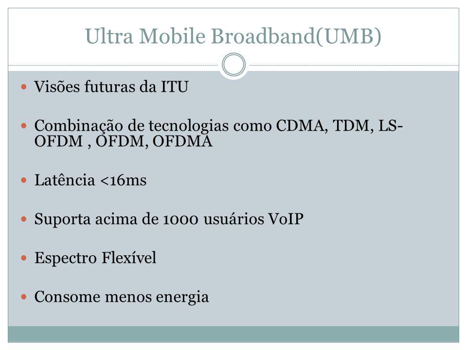 Ultra Mobile Broadband(UMB) Visões futuras da ITU Combinação de tecnologias como CDMA, TDM, LS- OFDM, OFDM, OFDMA Latência <16ms Suporta acima de 1000