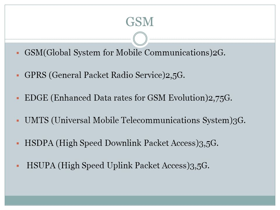 GSM GSM(Global System for Mobile Communications)2G.