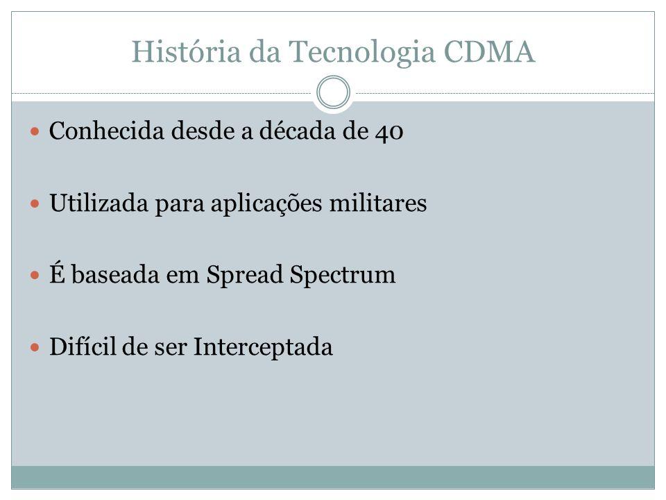 História da Tecnologia CDMA Conhecida desde a década de 40 Utilizada para aplicações militares É baseada em Spread Spectrum Difícil de ser Interceptad