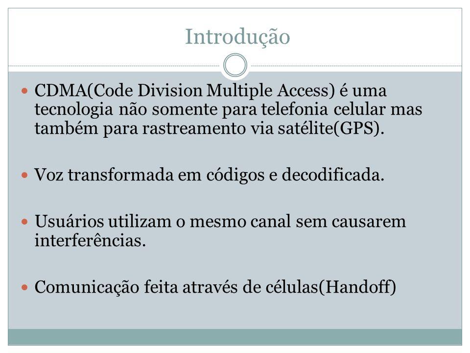 Introdução CDMA(Code Division Multiple Access) é uma tecnologia não somente para telefonia celular mas também para rastreamento via satélite(GPS). Voz
