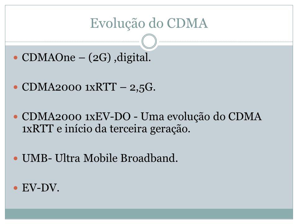 Evolução do CDMA CDMAOne – (2G),digital. CDMA2000 1xRTT – 2,5G. CDMA2000 1xEV-DO - Uma evolução do CDMA 1xRTT e início da terceira geração. UMB- Ultra