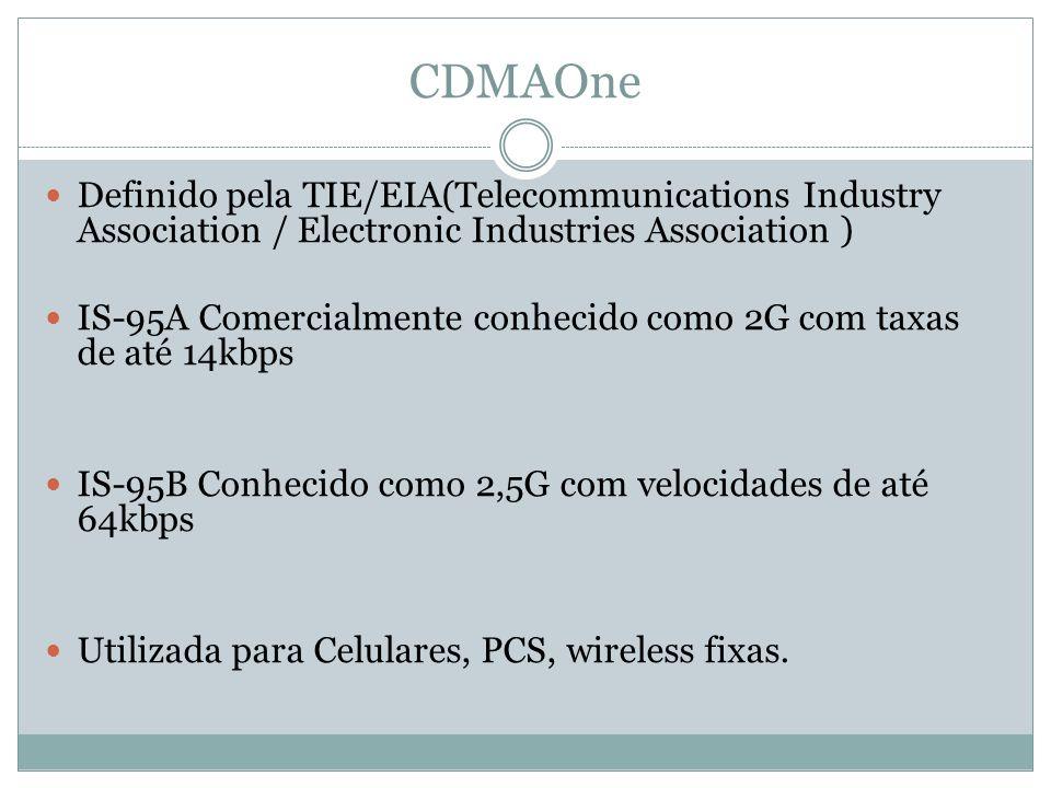 CDMAOne Definido pela TIE/EIA(Telecommunications Industry Association / Electronic Industries Association ) IS-95A Comercialmente conhecido como 2G co