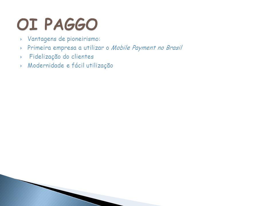 Vantagens de pioneirismo: Primeira empresa a utilizar o Mobile Payment no Brasil Fidelização do clientes Modernidade e fácil utilização