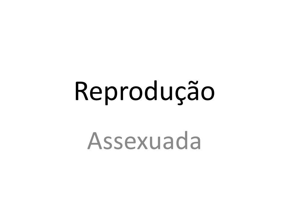 Reprodução Assexuada