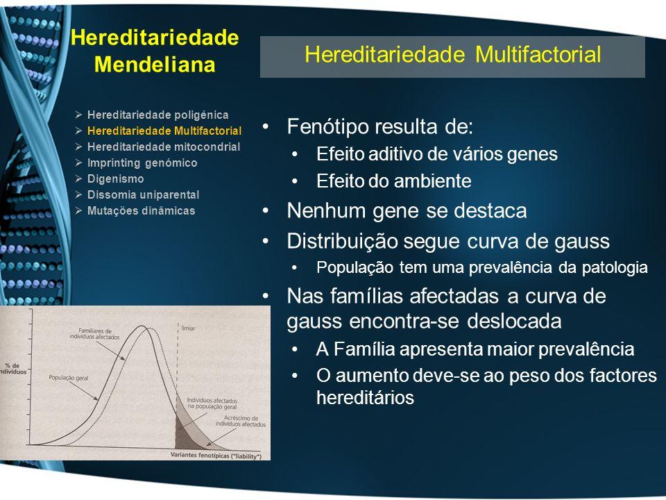 Hereditariedade Mendeliana Hereditariedade poligénica Hereditariedade Multifactorial Hereditariedade mitocondrial Imprinting genómico Digenismo Dissomia uniparental Mutações dinâmicas Hereditariedade Multifactorial: Métodos de estudo Genética Molecular com peso limitado Factores genéticos de risco Falta de especificidade diagnóstica Existência de heterogeneidade génica Penetrância e expressividade variáveis Variabilidade no onset Existência de casos de natureza não genética Desconhecimento do efeito modificador do ambiente Comparação entre populações difícil etiologia e incidência podem ser diferentes Abordagens indirectas: Estudos populacionais Estudos de concordância familiar Estudos em crianças adoptadas Estudos em gémeos Estudos de associação Estudos de ligação génica