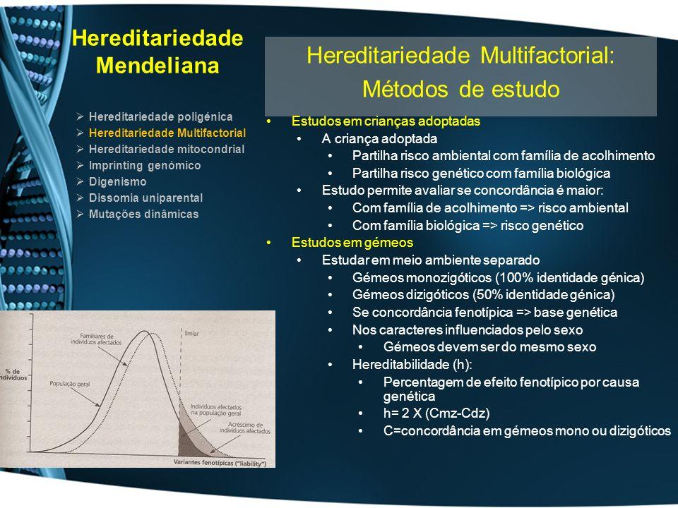 Hereditariedade Mendeliana Hereditariedade poligénica Hereditariedade Multifactorial Hereditariedade mitocondrial Imprinting genómico Digenismo Dissomia uniparental Mutações dinâmicas Hereditariedade Multifactorial: Critérios para identificação Concordância entre gémeos Cmz > 4X Cdz Frequência de indíviduos afectados Casais c/ 1 membro afectado > 2.5 Casais c/ 2 normais Valor inferior não exclui Natureza multifactorial Inversão em função do sexo numa família: Descentes do sexo menos afectado têm maior incidência Endocruzamento Origina só ligeiro aumento da frequência