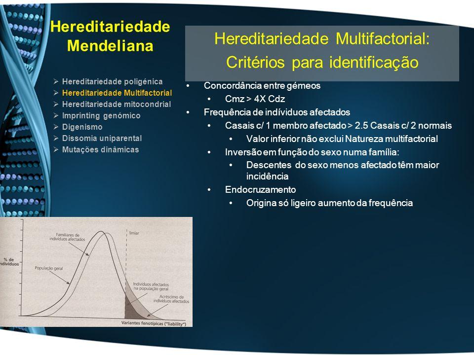 Hereditariedade Mendeliana Hereditariedade poligénica Hereditariedade Multifactorial Hereditariedade mitocondrial Imprinting genómico Digenismo Dissomia uniparental Mutações dinâmicas Hereditariedade Mitocondrial Hereditariedade mitocondrial com homoplasmia Célula tem um elevado número de mitocondrias Homoplastia Conteúdo genético mitocondrial igual Heteroplastia Conteúdo genético mitocondrial desigual Por divisão celular originam-se ao acaso diferentes linhas celulares Com heteroplastia variada Com homoplastia para o alelo normal Com homoplastia para o alelo mutado DNA mitocondrial transmitido exclusivamente por via materna Na descendência de doente podem surgir e doentes Na descendência de doente filhos são saudáveis se conjugue é saudável Pode observar-se heterogeneidade nos indivíduos afectados Devido a heteroplasmia e linhas celulares aleatórias Órgãos são afectados de modo diverso Devido a heteroplasmia e linhas celulares aleatórias