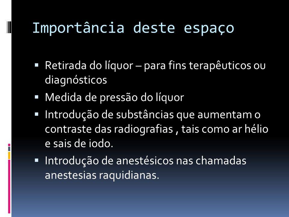 Importância deste espaço Retirada do líquor – para fins terapêuticos ou diagnósticos Medida de pressão do líquor Introdução de substâncias que aumenta