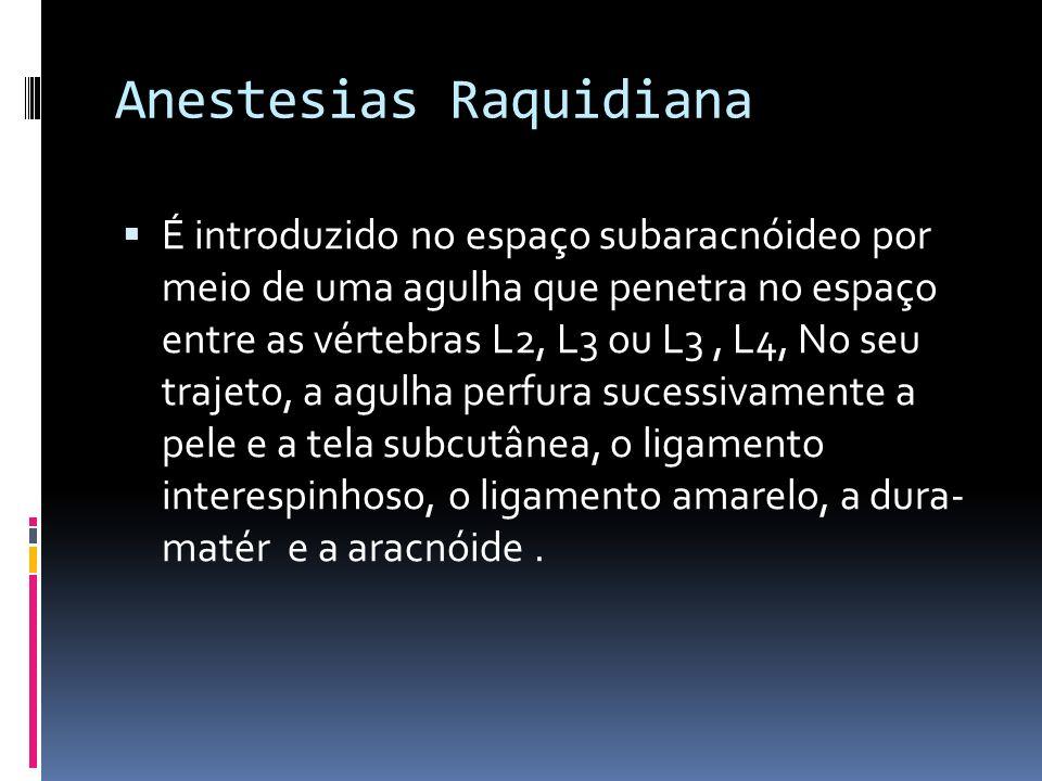 Anestesias Raquidiana É introduzido no espaço subaracnóideo por meio de uma agulha que penetra no espaço entre as vértebras L2, L3 ou L3, L4, No seu t