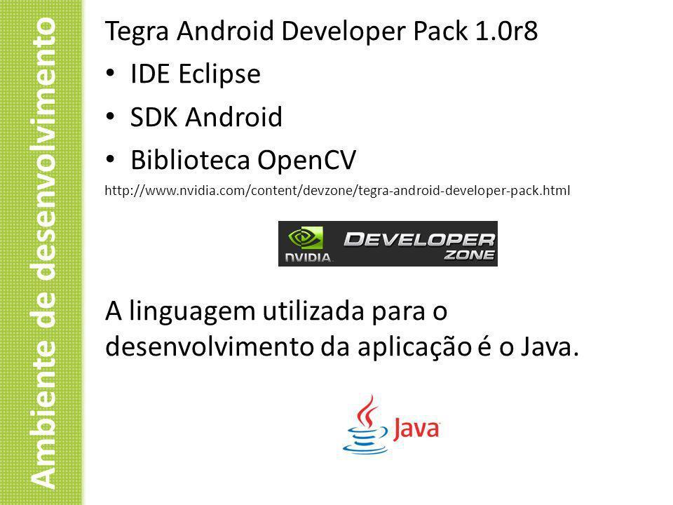 Ambiente de desenvolvimento Tegra Android Developer Pack 1.0r8 IDE Eclipse SDK Android Biblioteca OpenCV http://www.nvidia.com/content/devzone/tegra-a