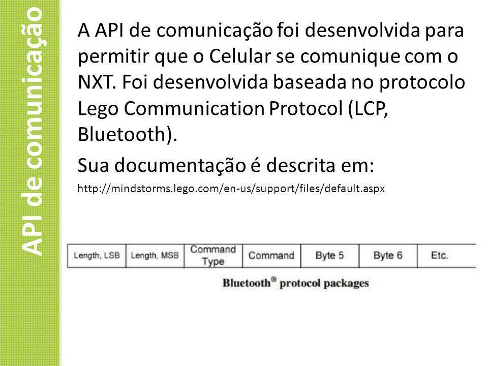 API de comunicação A API de comunicação foi desenvolvida para permitir que o Celular se comunique com o NXT. Foi desenvolvida baseada no protocolo Leg