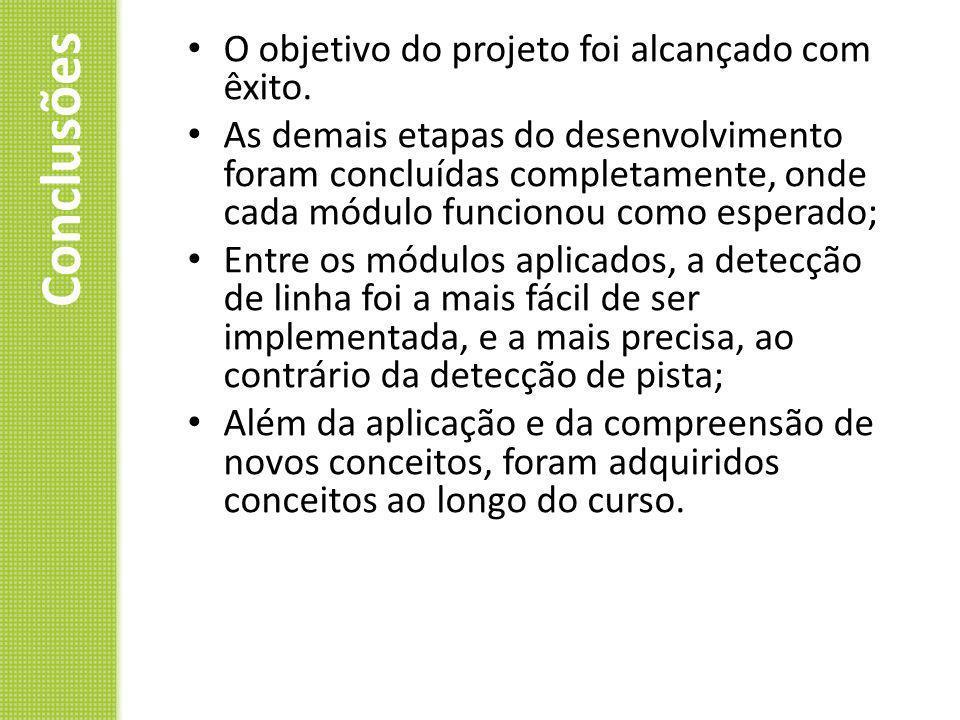 Conclusões O objetivo do projeto foi alcançado com êxito. As demais etapas do desenvolvimento foram concluídas completamente, onde cada módulo funcion