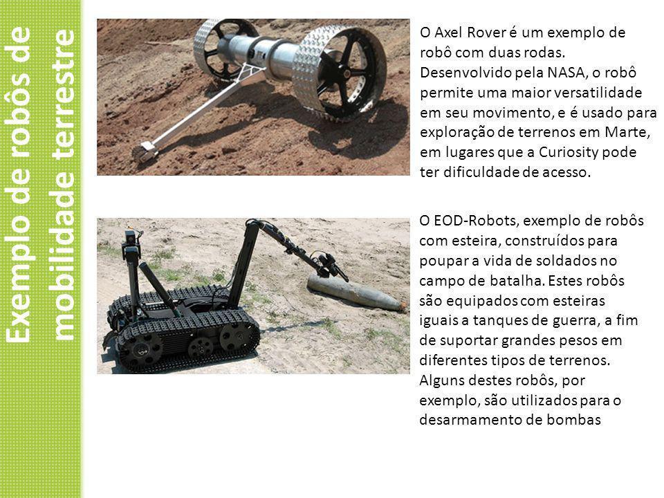 Exemplo de robôs de mobilidade terrestre O Axel Rover é um exemplo de robô com duas rodas. Desenvolvido pela NASA, o robô permite uma maior versatilid