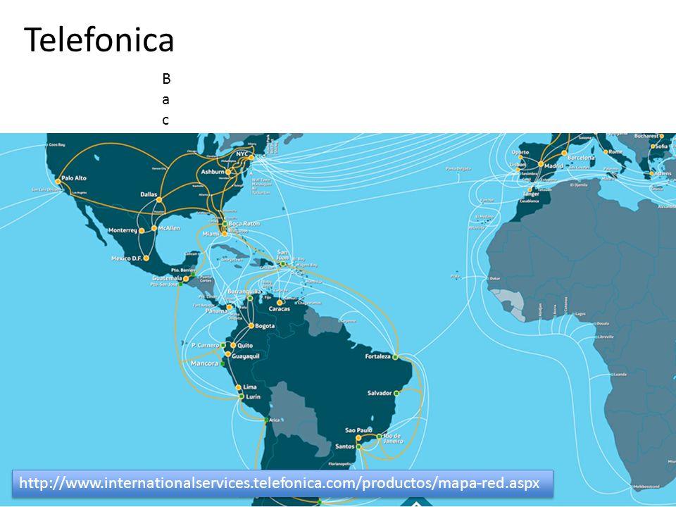 Telefonica Backbone Nacional e Internacional PróprioEm laranja a rede própria e em branco os circuitos redundantes alugadosBackbone Nacional e Interna