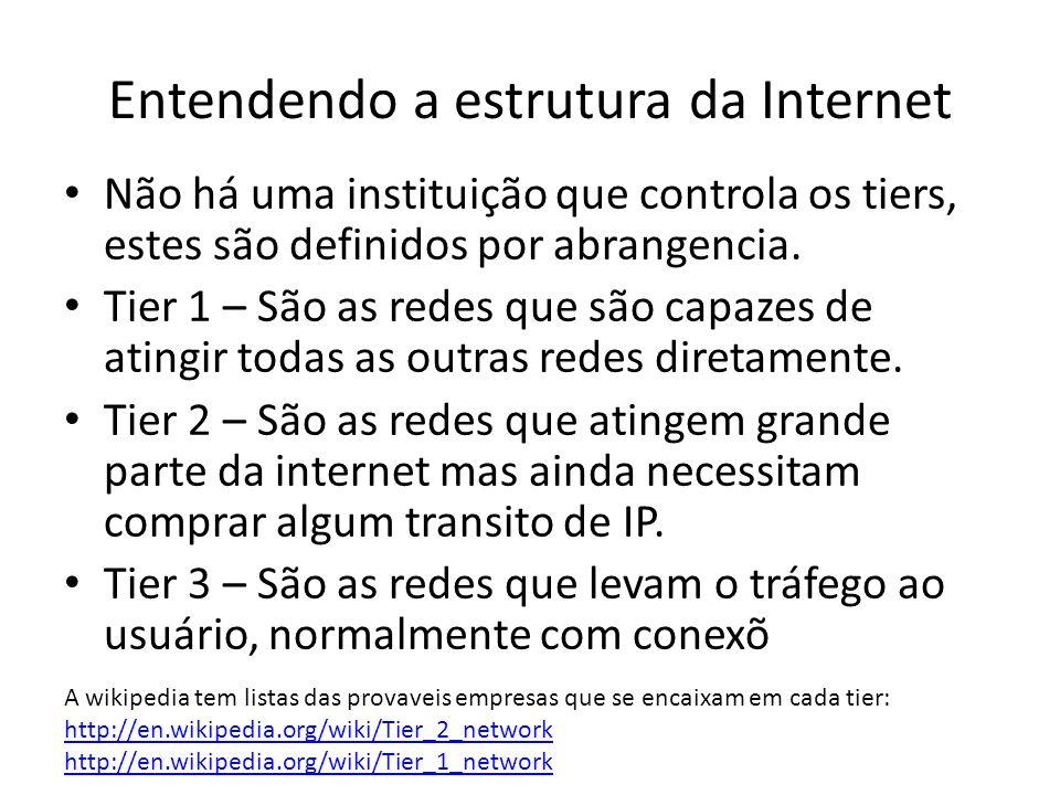 Não há uma instituição que controla os tiers, estes são definidos por abrangencia. Tier 1 – São as redes que são capazes de atingir todas as outras re