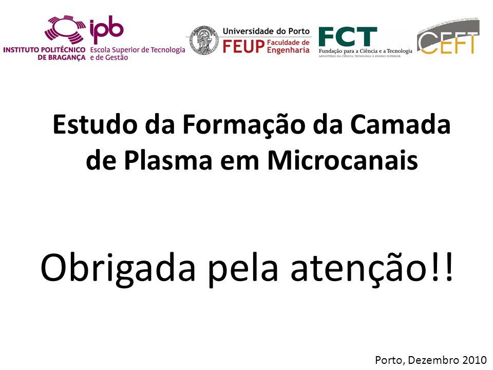 Estudo da Formação da Camada de Plasma em Microcanais Porto, Dezembro 2010 Obrigada pela atenção!!
