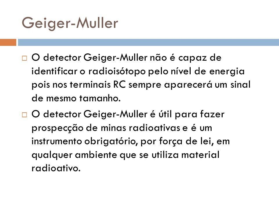 O detector Geiger-Muller não é capaz de identificar o radioisótopo pelo nível de energia pois nos terminais RC sempre aparecerá um sinal de mesmo tamanho.