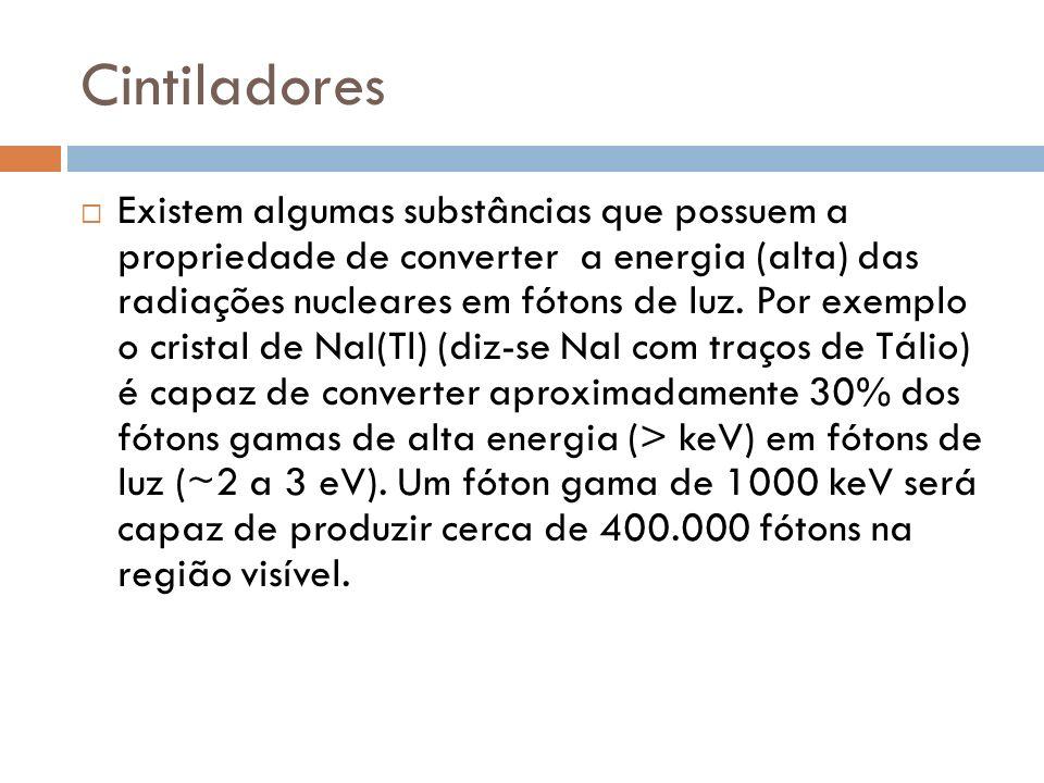Cintiladores Existem algumas substâncias que possuem a propriedade de converter a energia (alta) das radiações nucleares em fótons de luz. Por exemplo