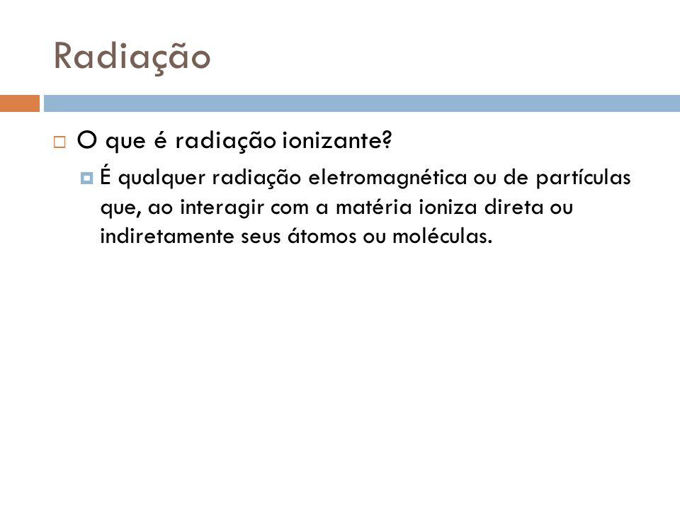 Radiação O que é radiação ionizante? É qualquer radiação eletromagnética ou de partículas que, ao interagir com a matéria ioniza direta ou indiretamen