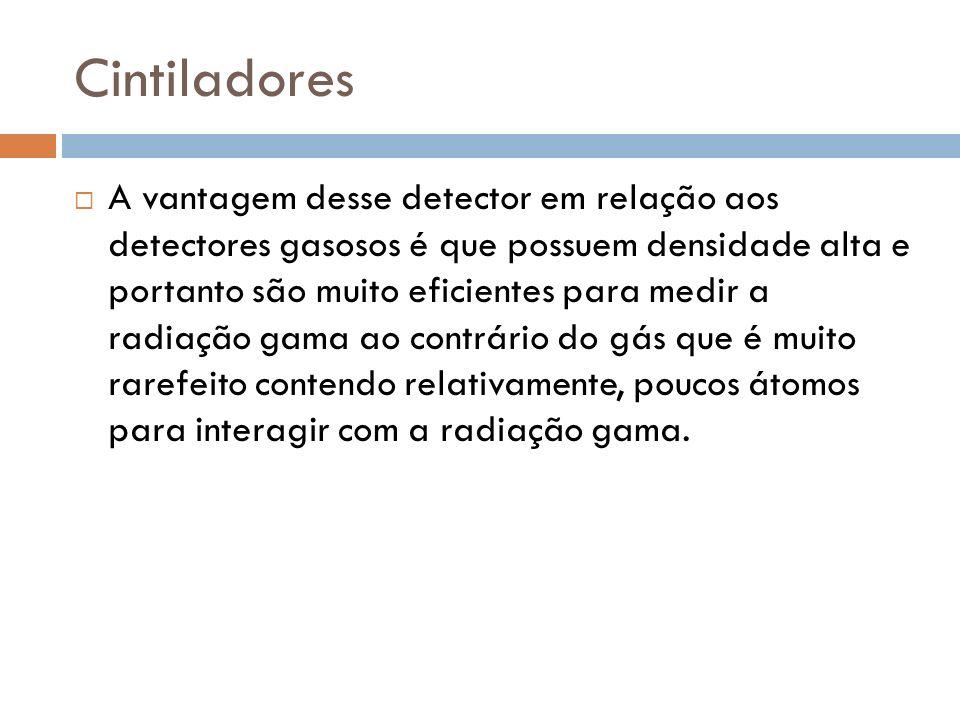 Cintiladores A vantagem desse detector em relação aos detectores gasosos é que possuem densidade alta e portanto são muito eficientes para medir a radiação gama ao contrário do gás que é muito rarefeito contendo relativamente, poucos átomos para interagir com a radiação gama.