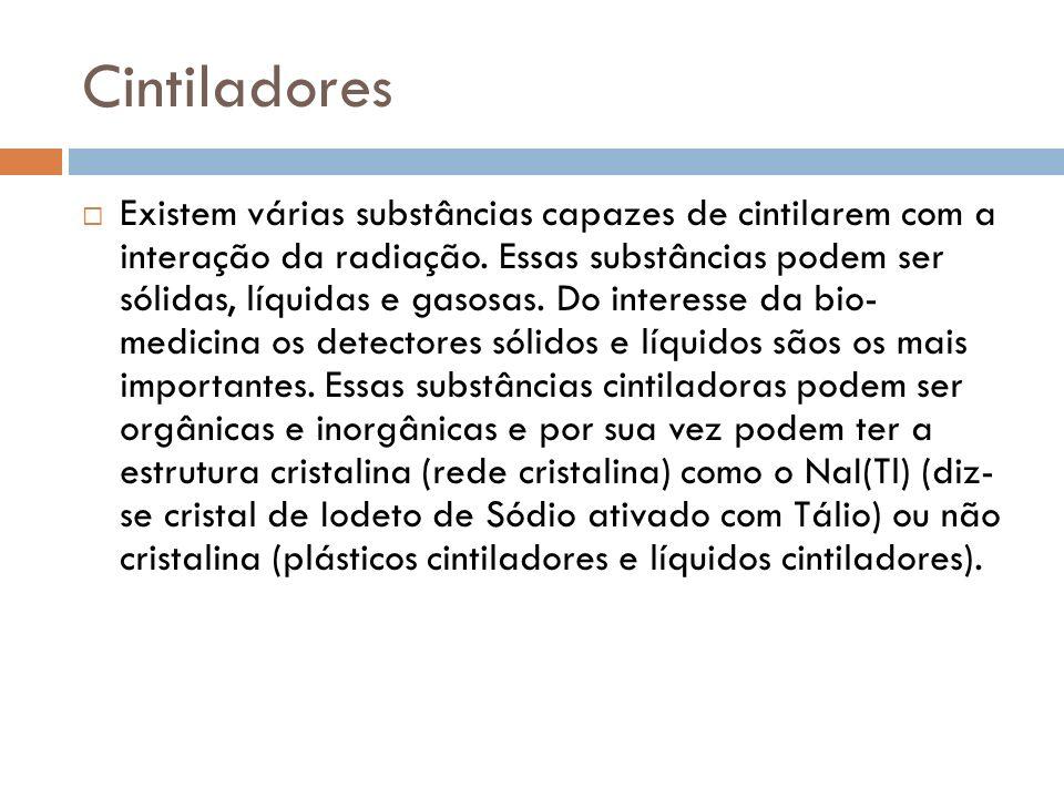 Existem várias substâncias capazes de cintilarem com a interação da radiação. Essas substâncias podem ser sólidas, líquidas e gasosas. Do interesse da