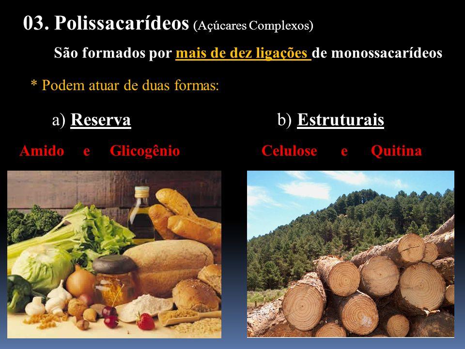 03. Polissacarídeos (Açúcares Complexos) São formados por mais de dez ligações de monossacarídeos * Podem atuar de duas formas: a) Reserva b) Estrutur