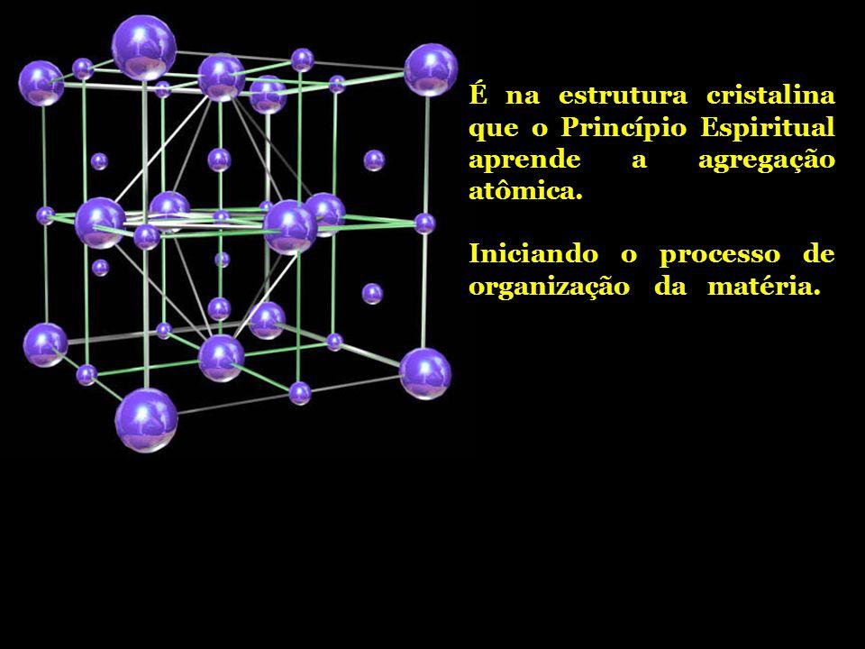 É na estrutura cristalina que o Princípio Espiritual aprende a agregação atômica. Iniciando o processo de organização da matéria.