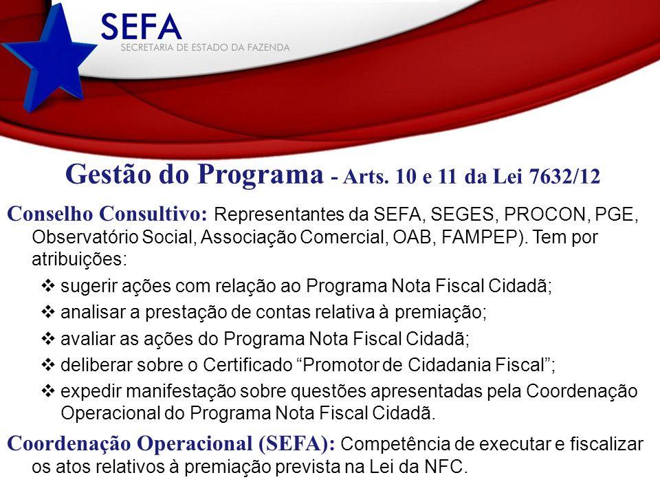Gestão do Programa - Arts. 10 e 11 da Lei 7632/12 Conselho Consultivo: Representantes da SEFA, SEGES, PROCON, PGE, Observatório Social, Associação Com