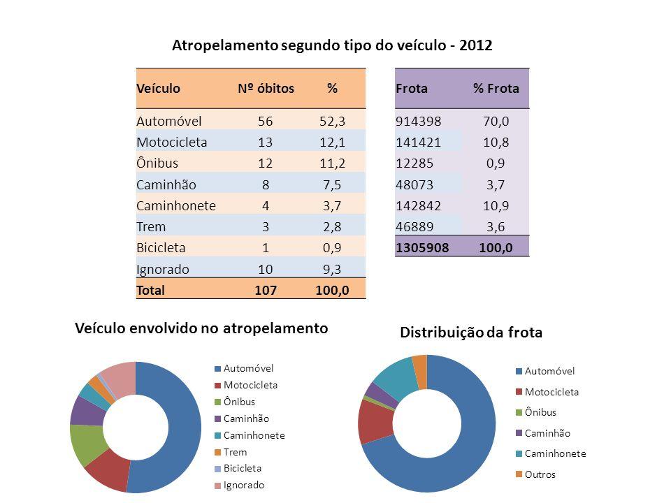 Atropelamento segundo tipo do veículo - 2012 Veículo envolvido no atropelamento Distribuição da frota VeículoNº óbitos%Frota% Frota Automóvel5652,391439870,0 Motocicleta1312,114142110,8 Ônibus1211,2122850,9 Caminhão87,5480733,7 Caminhonete43,714284210,9 Trem32,8468893,6 Bicicleta10,91305908100,0 Ignorado109,3 Total107100,0