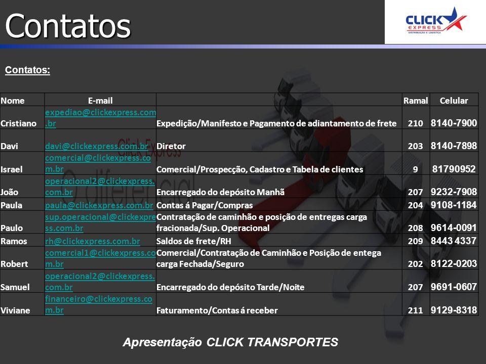 Contatos Contatos: Apresentação CLICK TRANSPORTES NomeE-mail RamalCelular Cristiano expediao@clickexpress.com.brExpedição/Manifesto e Pagamento de adiantamento de frete210 8140-7900 Davidavi@clickexpress.com.brDiretor203 8140-7898 Israel comercial@clickexpress.co m.brComercial/Prospecção, Cadastro e Tabela de clientes9 81790952 João operacional2@clickexpress.