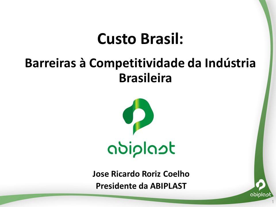 Custo Brasil: Barreiras à Competitividade da Indústria Brasileira Jose Ricardo Roriz Coelho Presidente da ABIPLAST 1