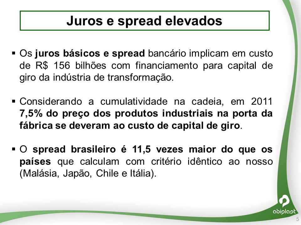 5 Juros e spread elevados Os juros básicos e spread bancário implicam em custo de R$ 156 bilhões com financiamento para capital de giro da indústria de transformação.
