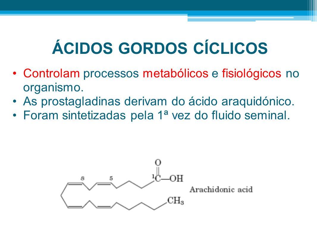 ÁCIDOS GORDOS CÍCLICOS Controlam processos metabólicos e fisiológicos no organismo. As prostagladinas derivam do ácido araquidónico. Foram sintetizada