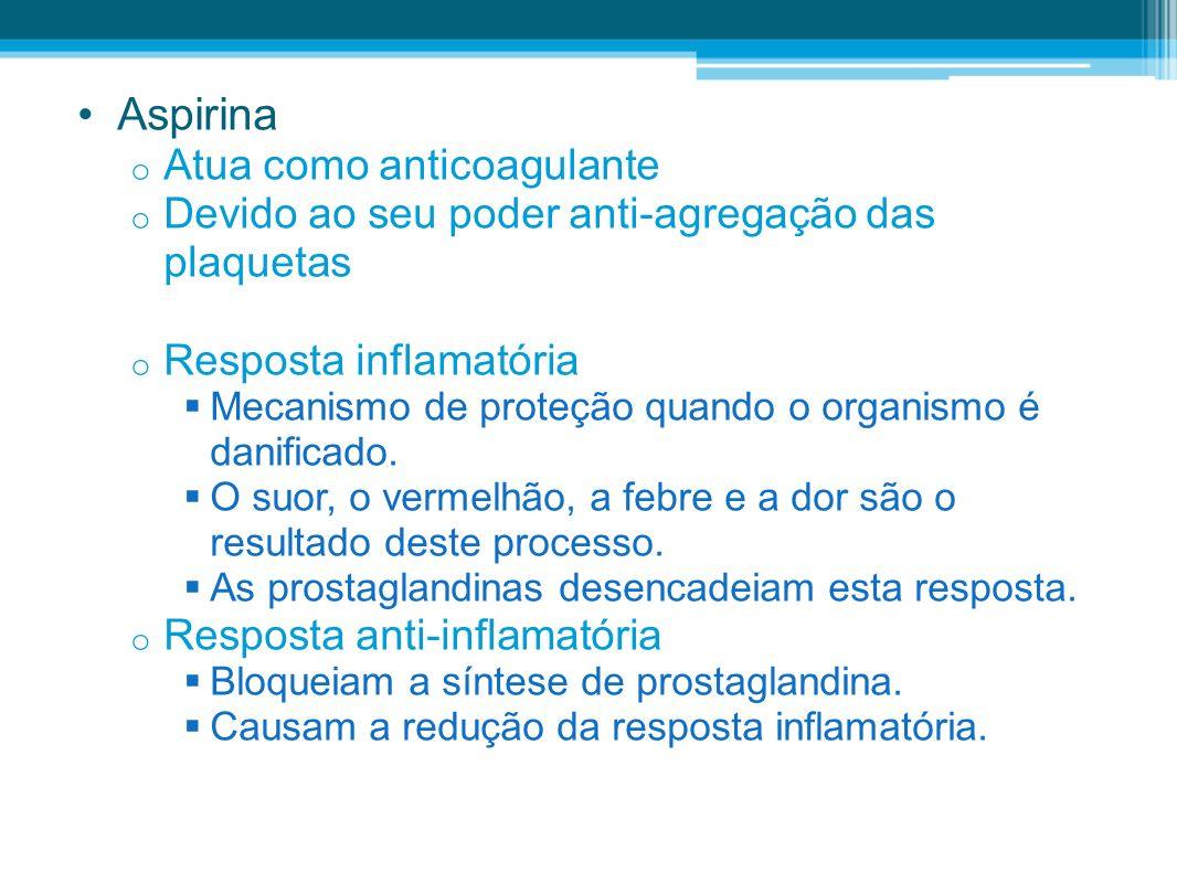 Aspirina o Atua como anticoagulante o Devido ao seu poder anti-agregação das plaquetas o Resposta inflamatória Mecanismo de proteção quando o organism