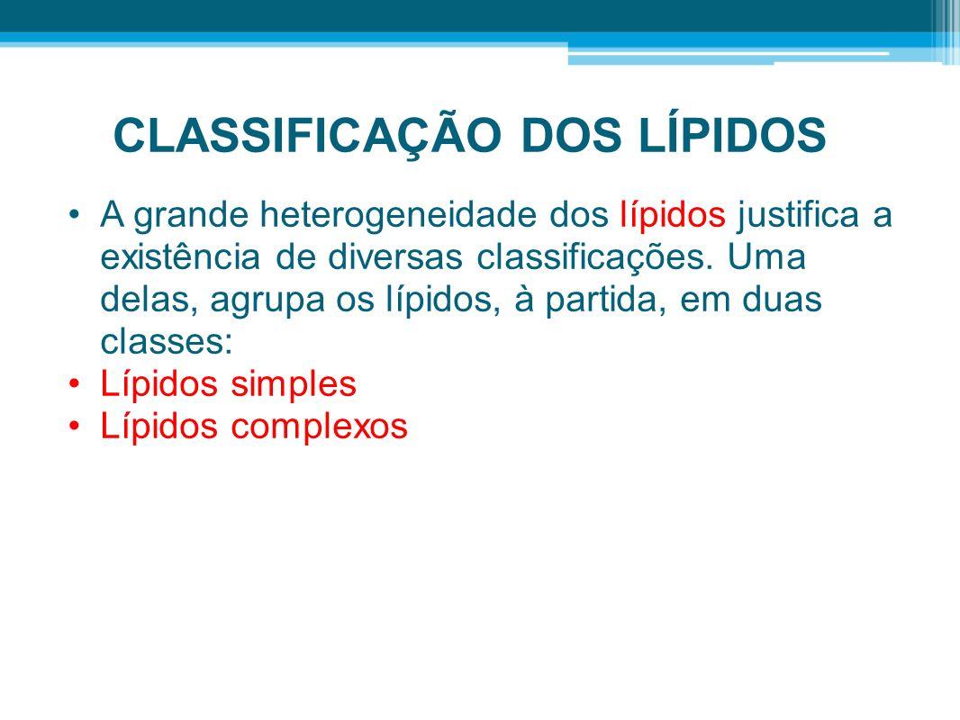 CLASSIFICAÇÃO DOS LÍPIDOS A grande heterogeneidade dos lípidos justifica a existência de diversas classificações. Uma delas, agrupa os lípidos, à part