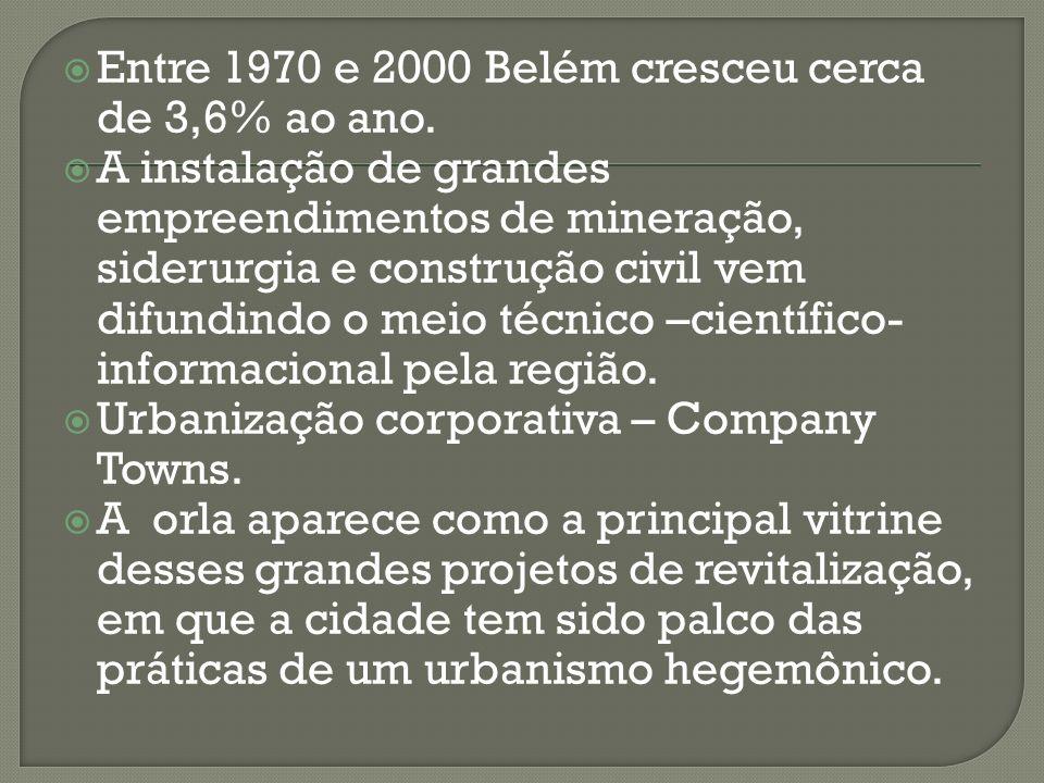 Entre 1970 e 2000 Belém cresceu cerca de 3,6% ao ano. A instalação de grandes empreendimentos de mineração, siderurgia e construção civil vem difundin