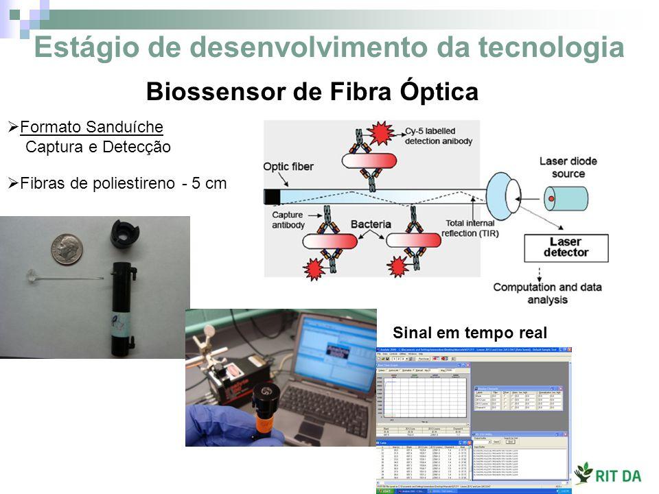 Biossensor de Fibra Óptica Formato Sanduíche Captura e Detecção Fibras de poliestireno - 5 cm Sinal em tempo real Estágio de desenvolvimento da tecnol