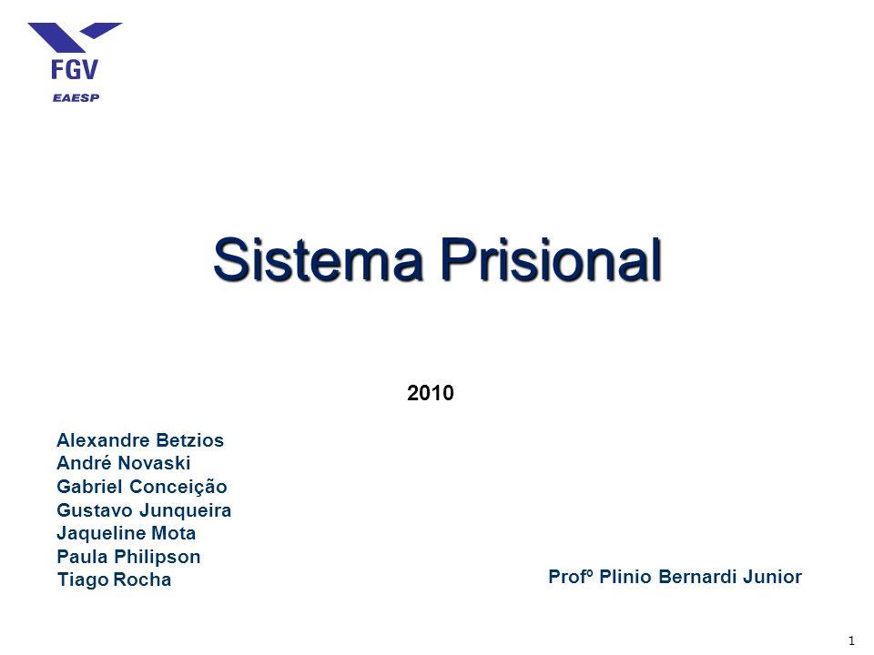1 Sistema Prisional 2010 Alexandre Betzios André Novaski Gabriel Conceição Gustavo Junqueira Jaqueline Mota Paula Philipson Tiago Rocha Profº Plinio Bernardi Junior