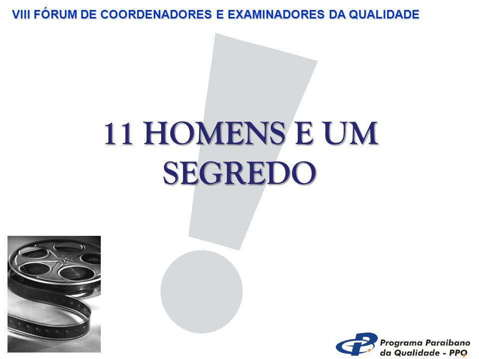 VIII FÓRUM DE COORDENADORES E EXAMINADORES DA QUALIDADE 11 HOMENS E UM SEGREDO