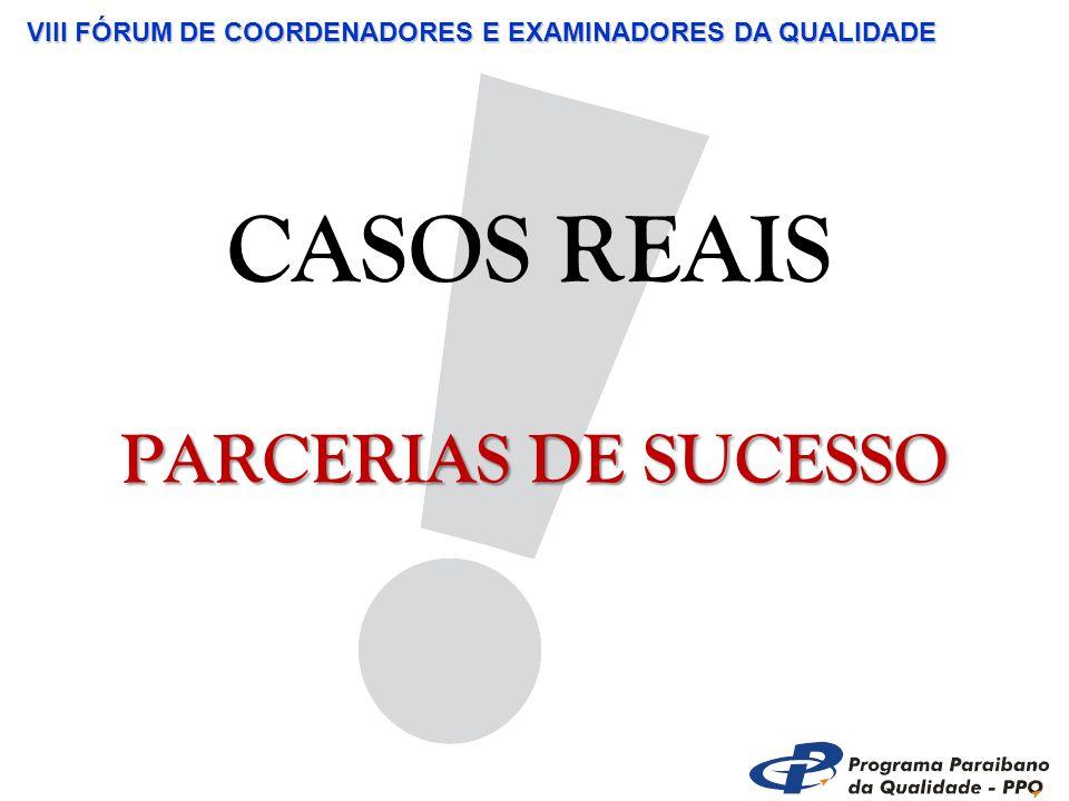 VIII FÓRUM DE COORDENADORES E EXAMINADORES DA QUALIDADE CASOS REAIS PARCERIAS DE SUCESSO