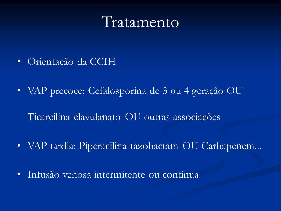 Tratamento Orientação da CCIH VAP precoce: Cefalosporina de 3 ou 4 geração OU Ticarcilina-clavulanato OU outras associações VAP tardia: Piperacilina-t
