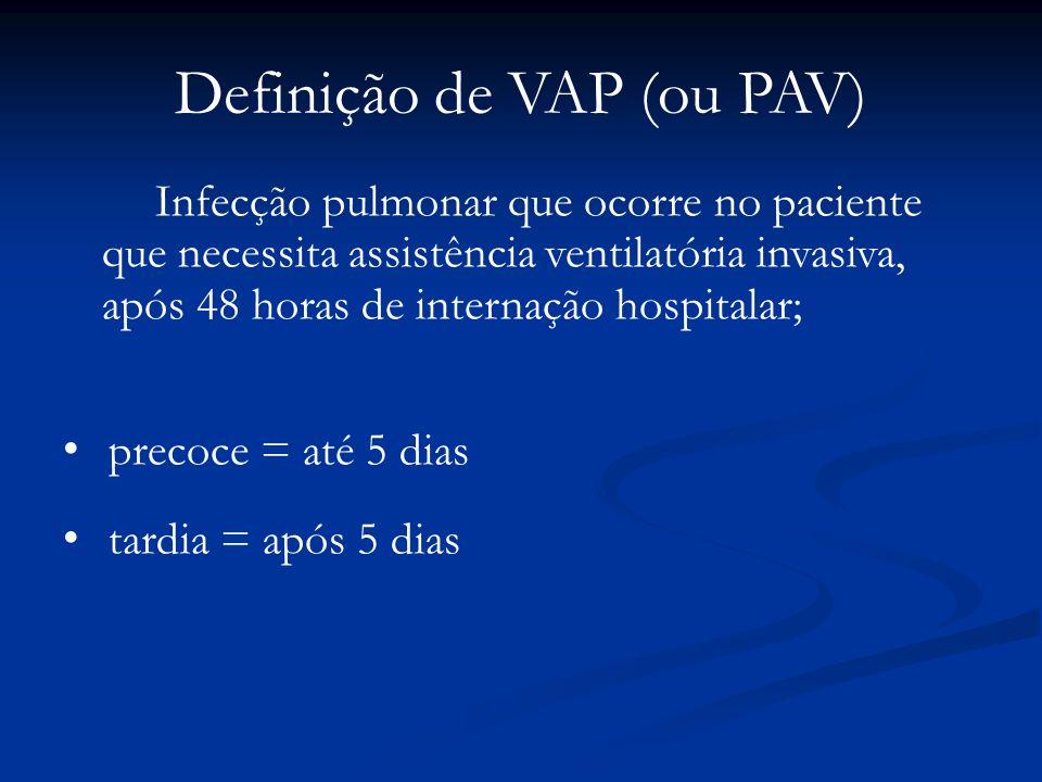 Definição de VAP (ou PAV) Infecção pulmonar que ocorre no paciente que necessita assistência ventilatória invasiva, após 48 horas de internação hospit