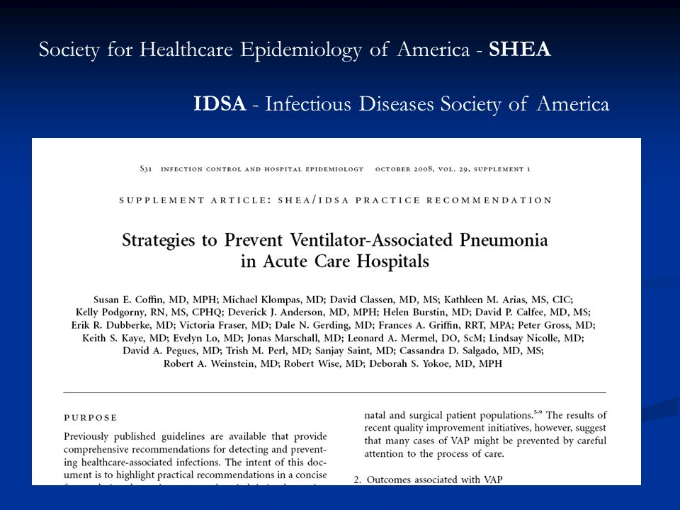 Society for Healthcare Epidemiology of America - SHEA IDSA - Infectious Diseases Society of America