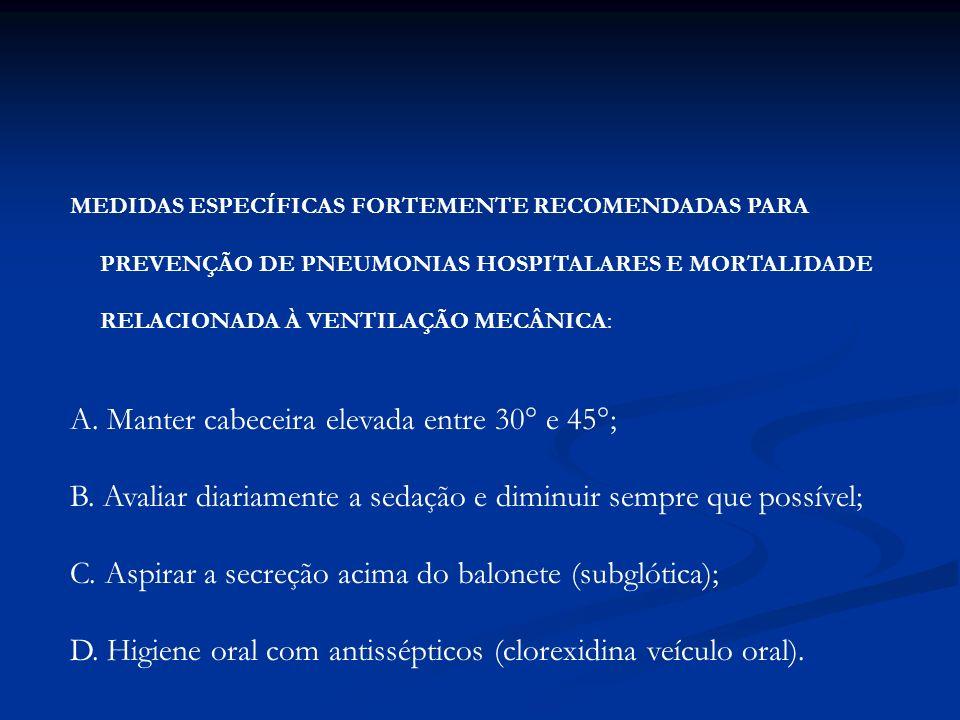 MEDIDAS ESPECÍFICAS FORTEMENTE RECOMENDADAS PARA PREVENÇÃO DE PNEUMONIAS HOSPITALARES E MORTALIDADE RELACIONADA À VENTILAÇÃO MECÂNICA: A. Manter cabec